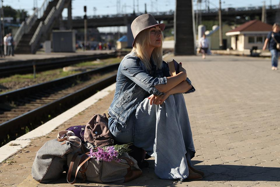 Station, Girl, Suitcases, Stand By, Flowers, Rails