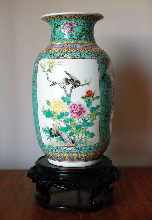 Chinese, Porcelain, Vase, China, Birds, Flowers