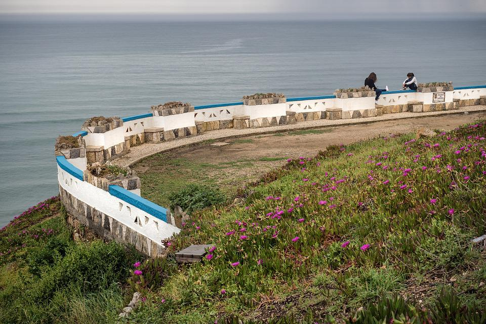 Portugal, Ocean, Wall, Holidays, Rest, Flowers, Girl