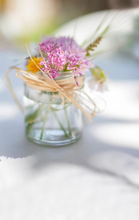 Flowers, Glass, Water, Ribbon, Bokeh, Blur, Petals