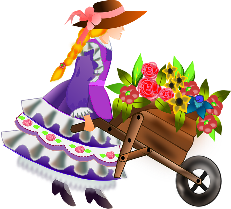 Flower Girl, Girl, Woman, Flowers, Barrow, Wheelbarrow