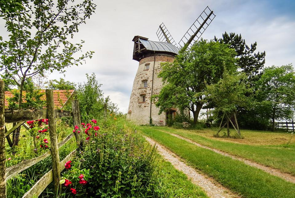 Windmill, Mill, Old, Antique, Nostalgia, Flowers, Red