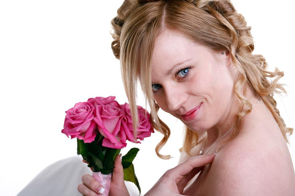 Bride, Smiling, Flowers, Wedding, Woman, Young, Female
