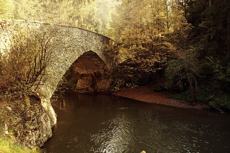 Bridge, Autumn, Rivers, Flowing, Water, Streams, Nature