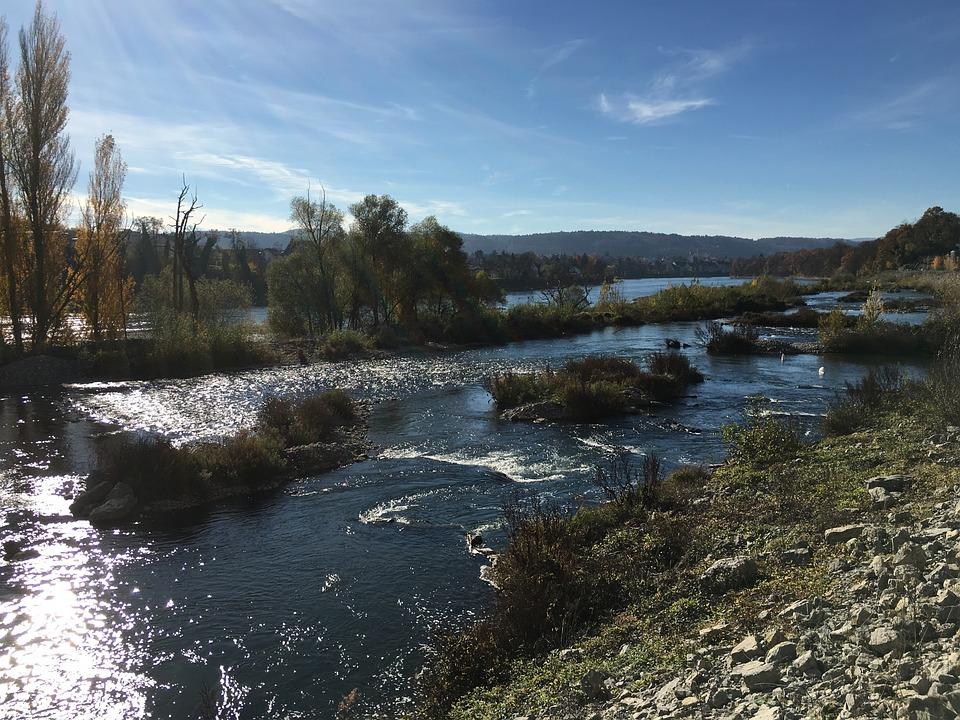 Water, River, Fluent, Rhine, Rheinfelden