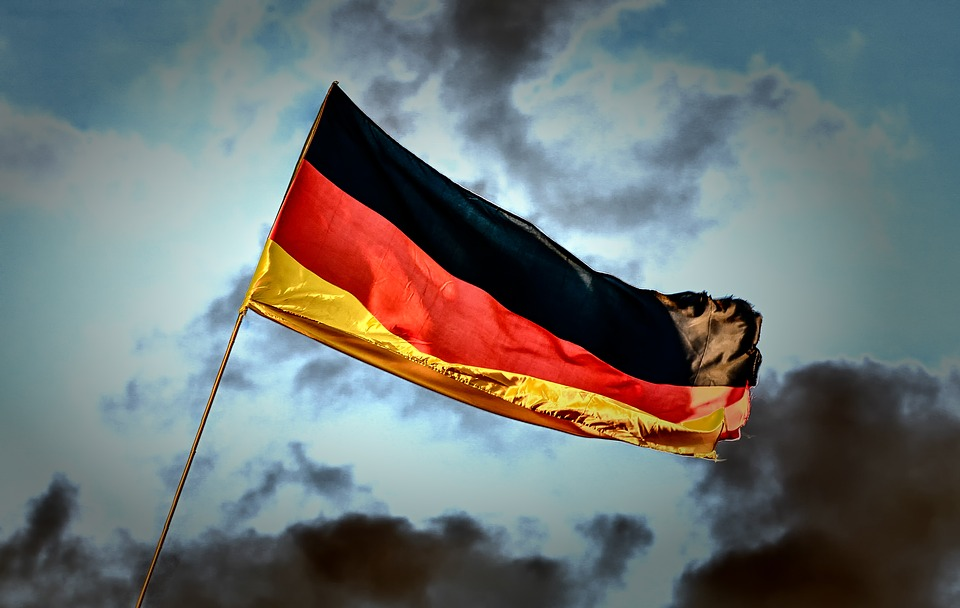 Flag, Germany, Dramatic, Windy, Flutter, Black Red Gold
