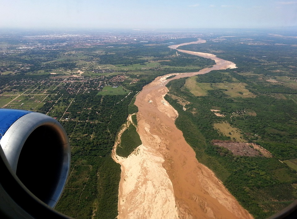 Aircraft, River, Sand, Air, Fly