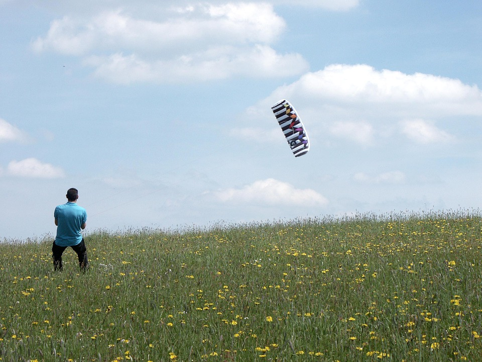 Kite, Fly, Dragon, Sky, Blue, Clouds, Meadow, Green