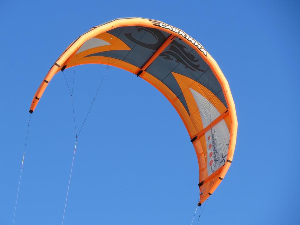Kitesurfing, Kiting, Water Sports, Orange, Kite, Flying