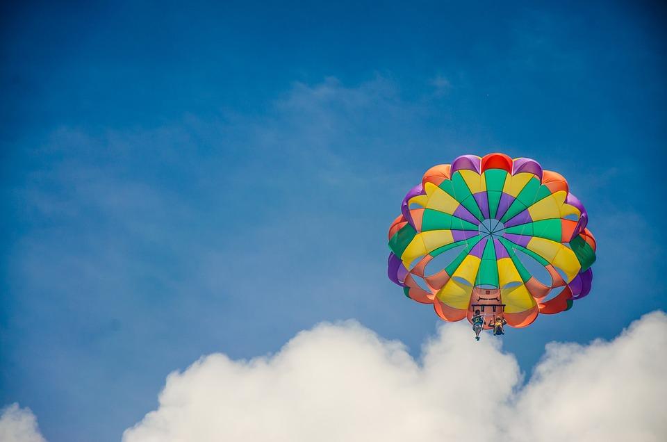 Parachute, Paragliding, Blue, Parachutist, Flying