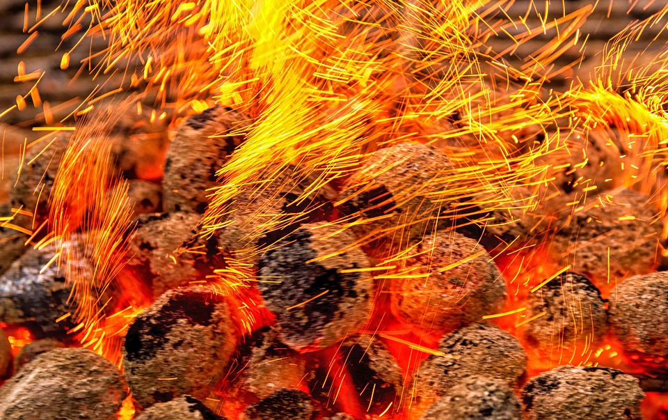 Flying Sparks, Embers, Carbon, Fire