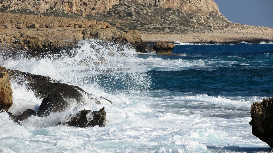 Wave, Smashing, Foam, Spray, Sea, Landscape, Cyprus