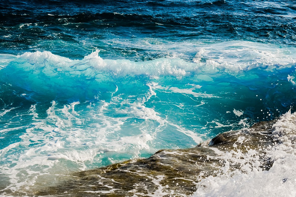 Shades Of Blue, Wave, Smashing, Foam, Spray, Sea