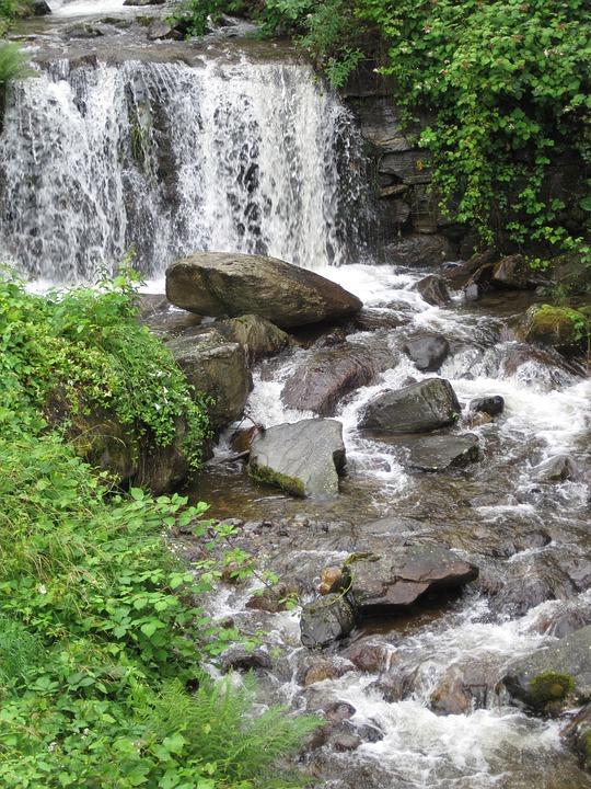Ticino Alps, Mountain Stream, Foaming, Waterfall, Bank