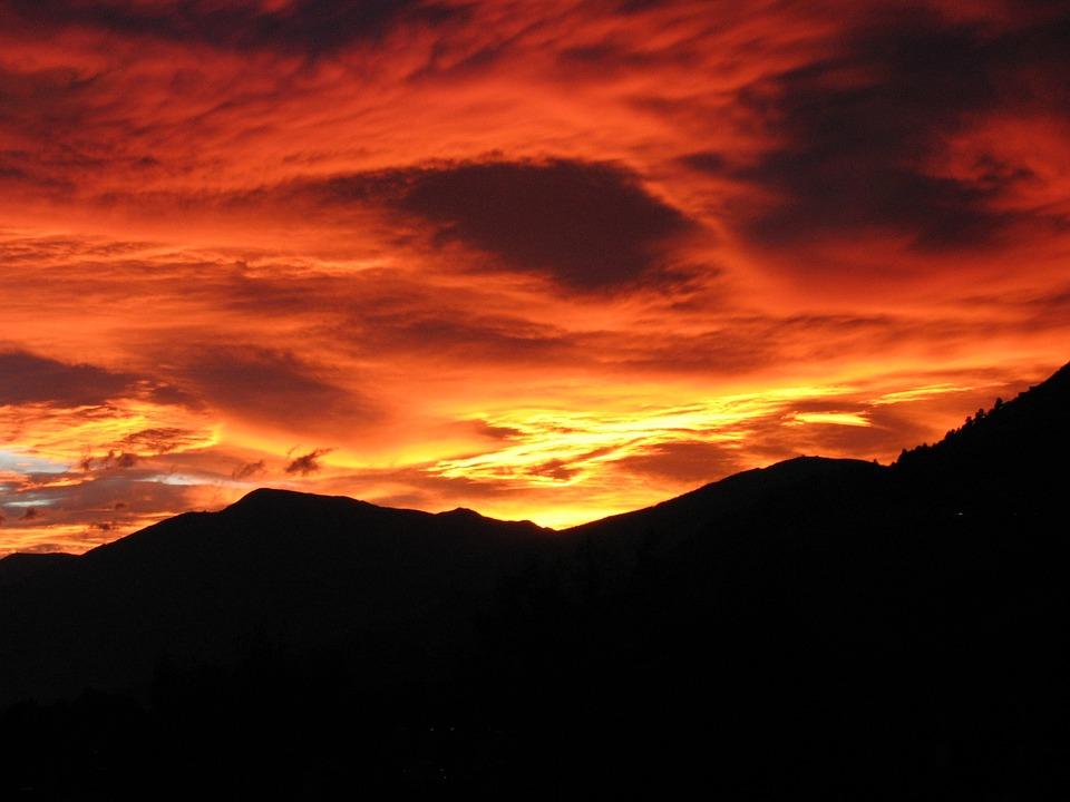 Sunset, Afterglow, Föhnstimmung, Föhn Clouds, Red