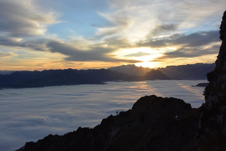 Salzburg, Austria, Unterberg, Fog, Clouds, Alpine