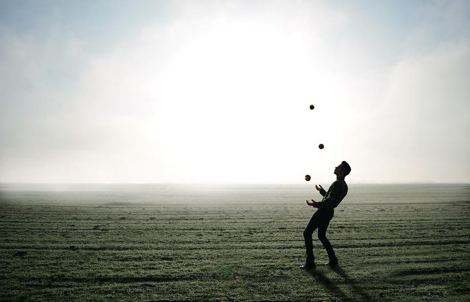 Juggler, Trick, Apple, Man, Person, Fog, Skyline