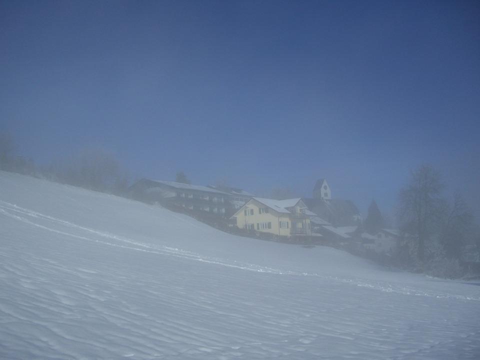 Fog, Mittelberg, Winter, Snow, Sky, Blue, Allgäu