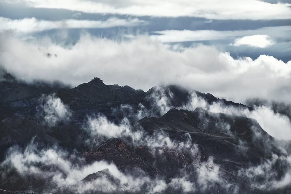 Landscape, Mountains, Fog, Sky, Clouds, Mountainous
