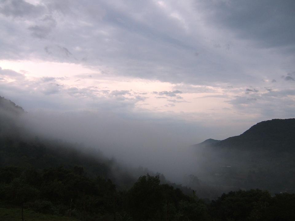 Sawmill, Clouds, Mountains, Fog