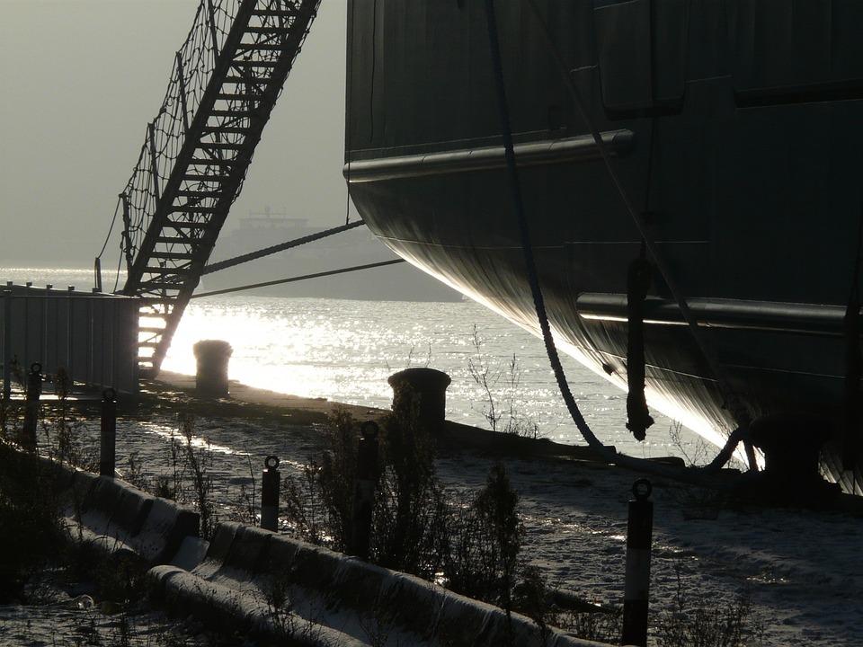 Harbour, Port, River, Winter, Fog, Mist