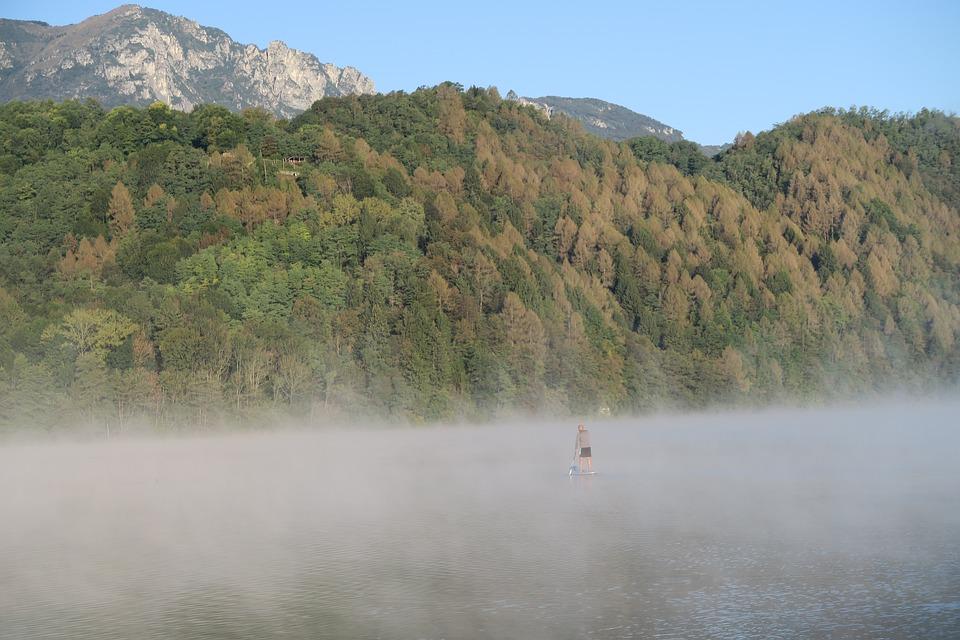 Autumn, Lake, Landscape, Fog, Bergsee, Standuppaddling