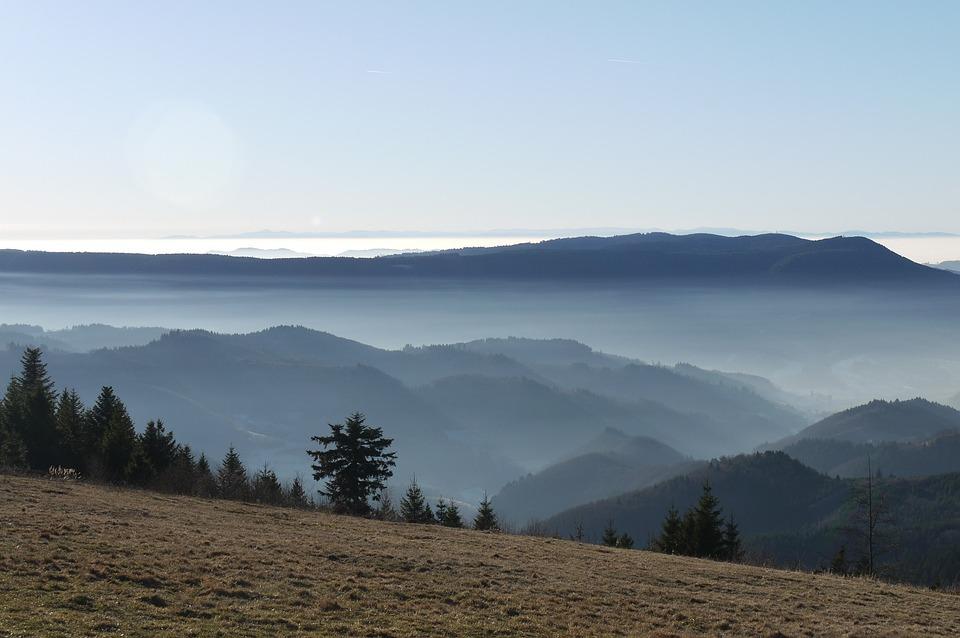 Mountains, Clouds, Black Forest, Fog, Landscape