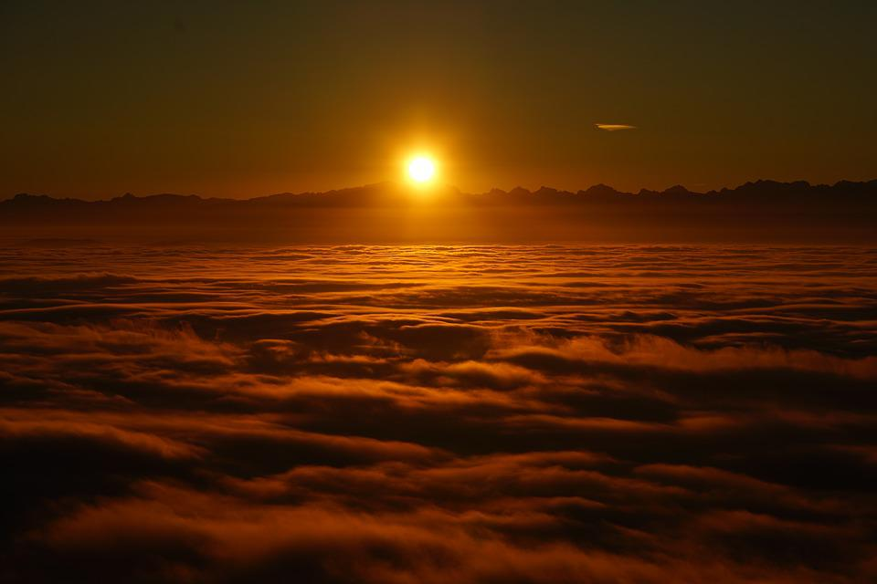 Sunrise, Selva Marine, Clouds, Sea Of Fog, Fog Lights