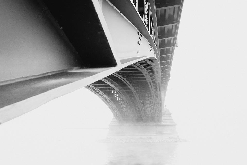 Mainz, Theodor-heuss Bridge, Fog, Rhine, Bridge