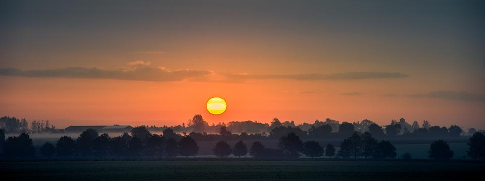 Sunrise, Mood, Morgenstimmung, Morning, Orange, Fog