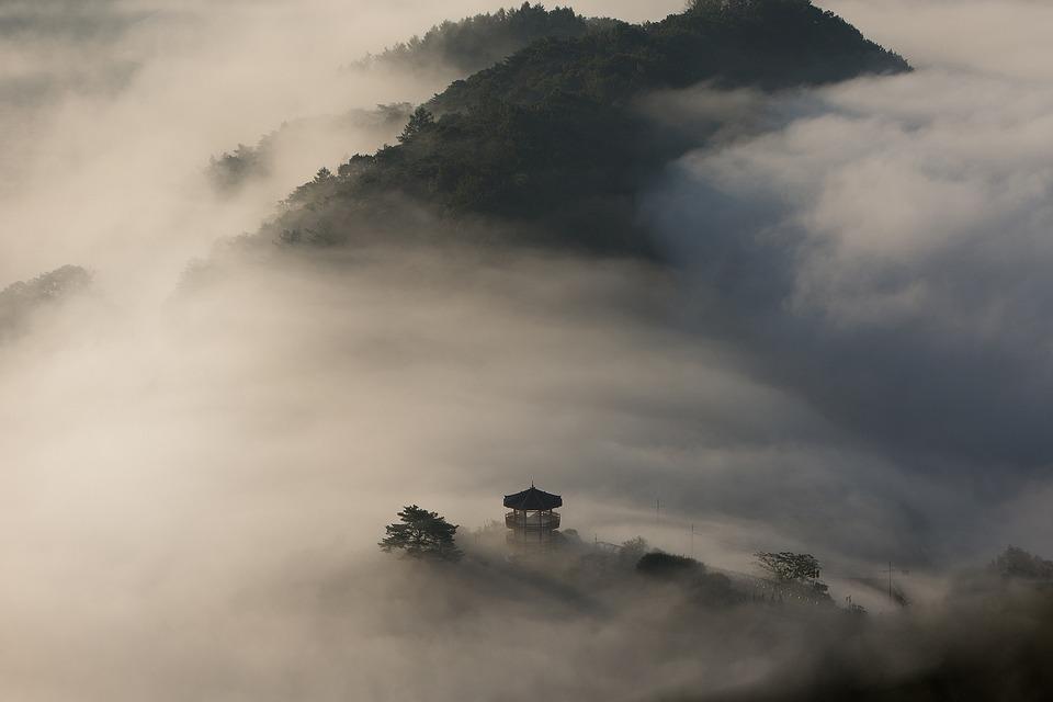Pavilion, Hills, Fog, Mountains, Landscape, Nature