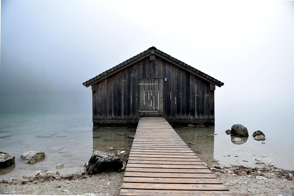 Bergsee, Water, Hut, Fog, Stones, Mystical, Nature