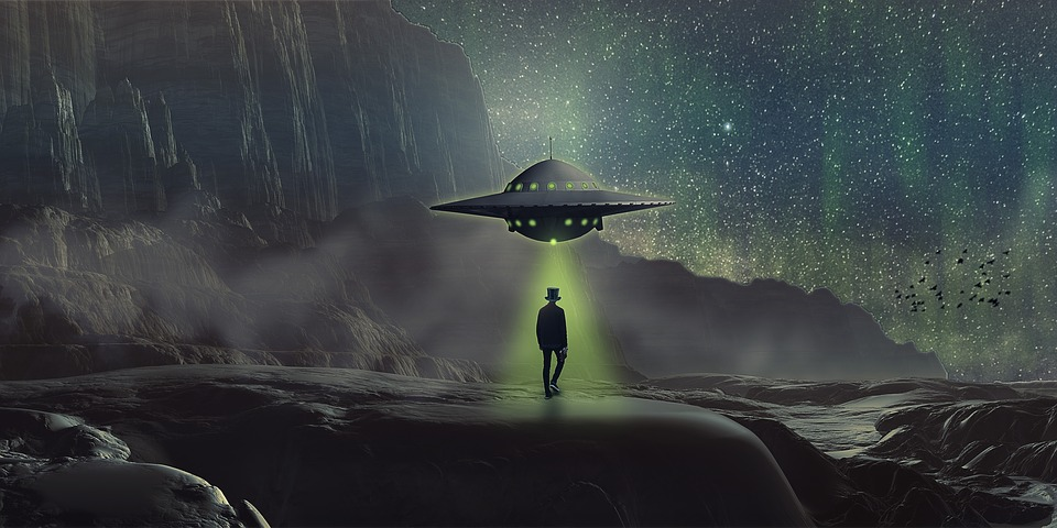 Manipulation, Ufo, Landscape, Man, Fog, Northern Light