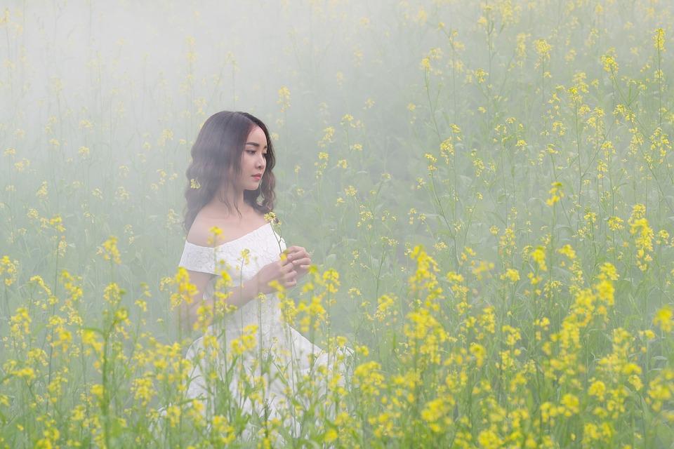 Portrait, Girl, Fog, Flowers, Beauty, Tender, Asian