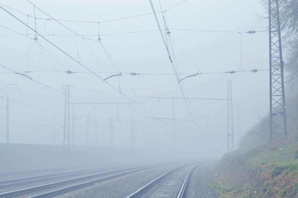 Fog, Dampness, Railway, Rails, Wire, Mast