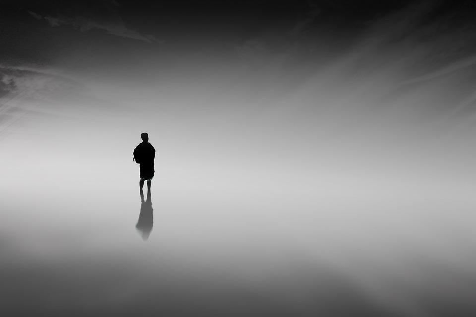 Man, Fog, Silhouette, Person, Water, Sea, Ocean