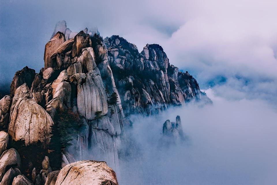 South Korea, Mountains, Sky, Clouds, Fog, Peaks