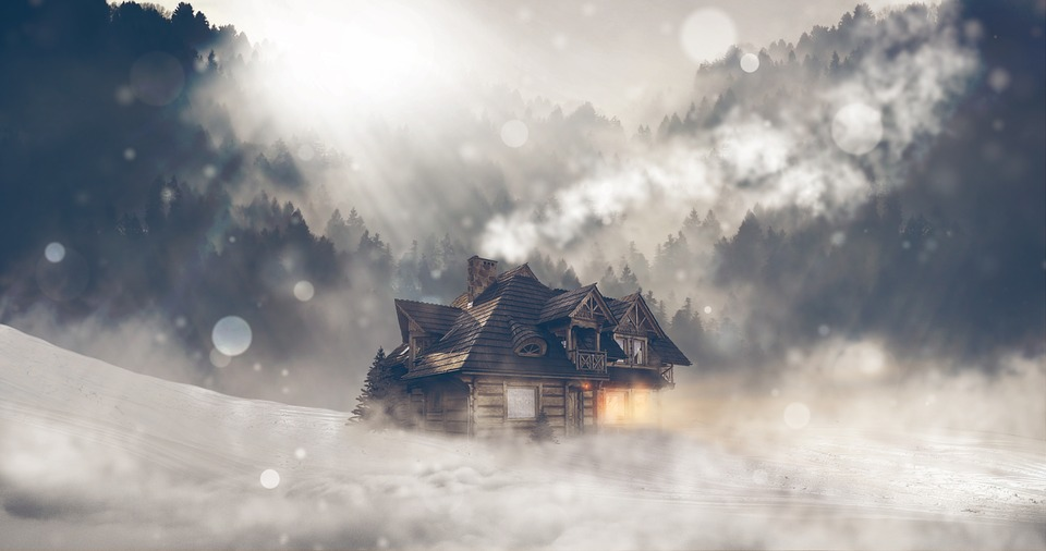Winter, Snow, Home, Landscape, Log Cabin, Trees, Fog