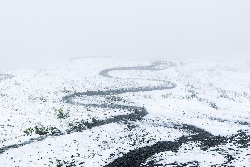 Path, Away, Devoured, Curves, Fog, Snow, Winter