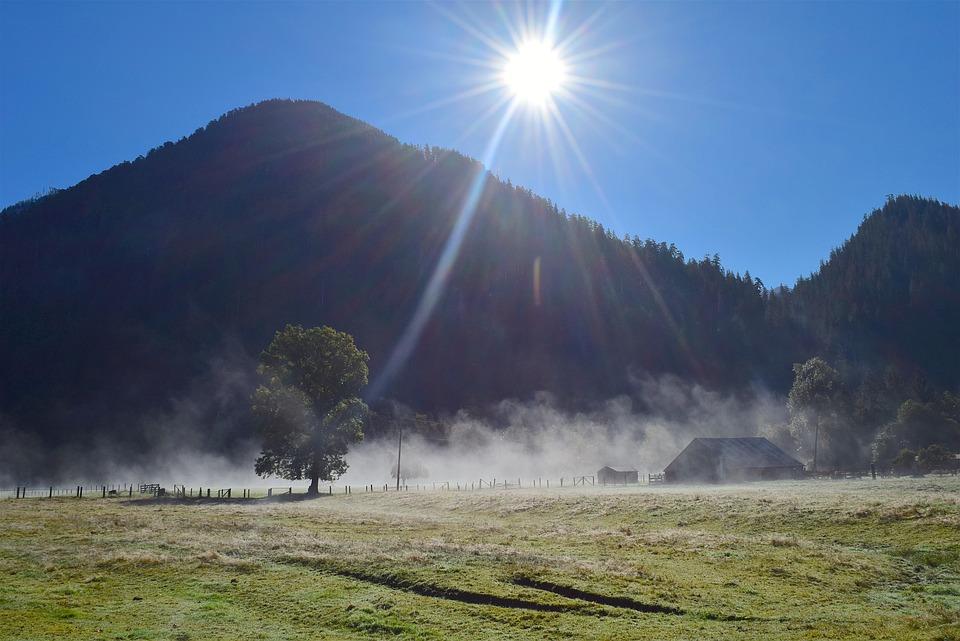Mountain, Sunlight, Fog, Mist, Sun, Sky, Blue, Field
