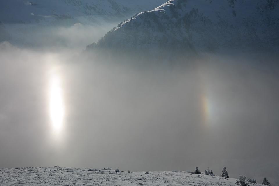 Sun, Reflection, Fog, Suns, Double Sun, Winter, Snow