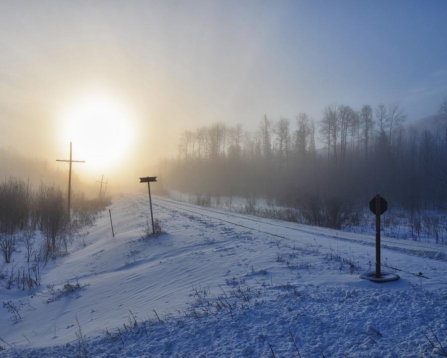 Fog, Train, Tracks, Winter, Transport, Railroad, Travel