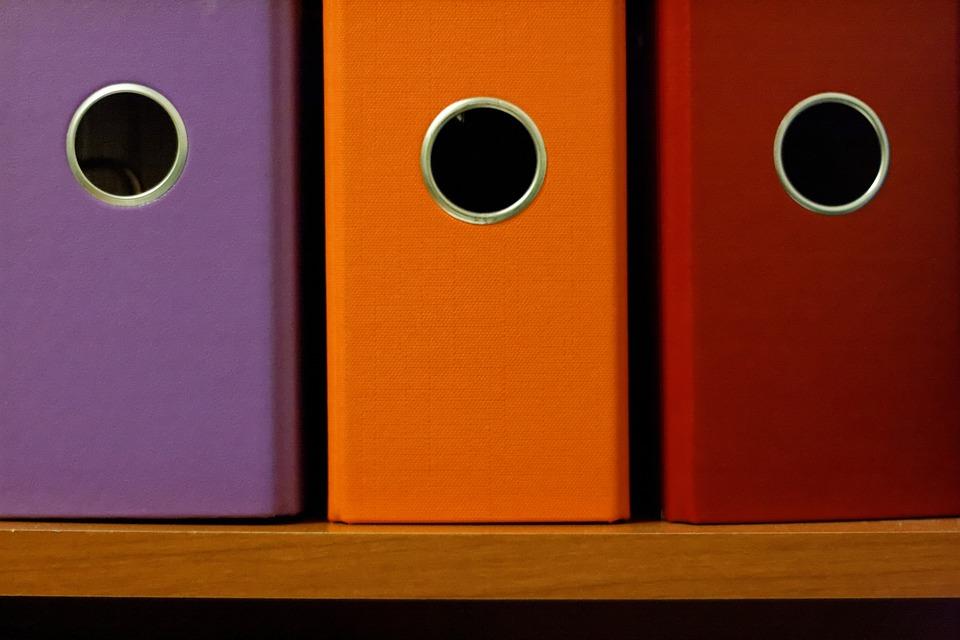 Office, Binders, Colorful, Folders, Documents