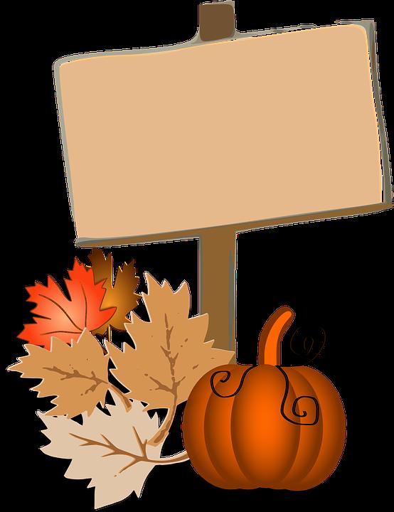 Foliage, Pumpkin, Leaves, Autumn, Fall, Orange, Sign