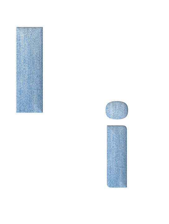 Fabric, 3d, Denim, Alphabet, Letter I, Font, Text, Type