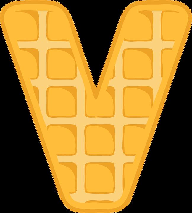 V, Alphabet, Waffle, Letter, Typography, Text, Font