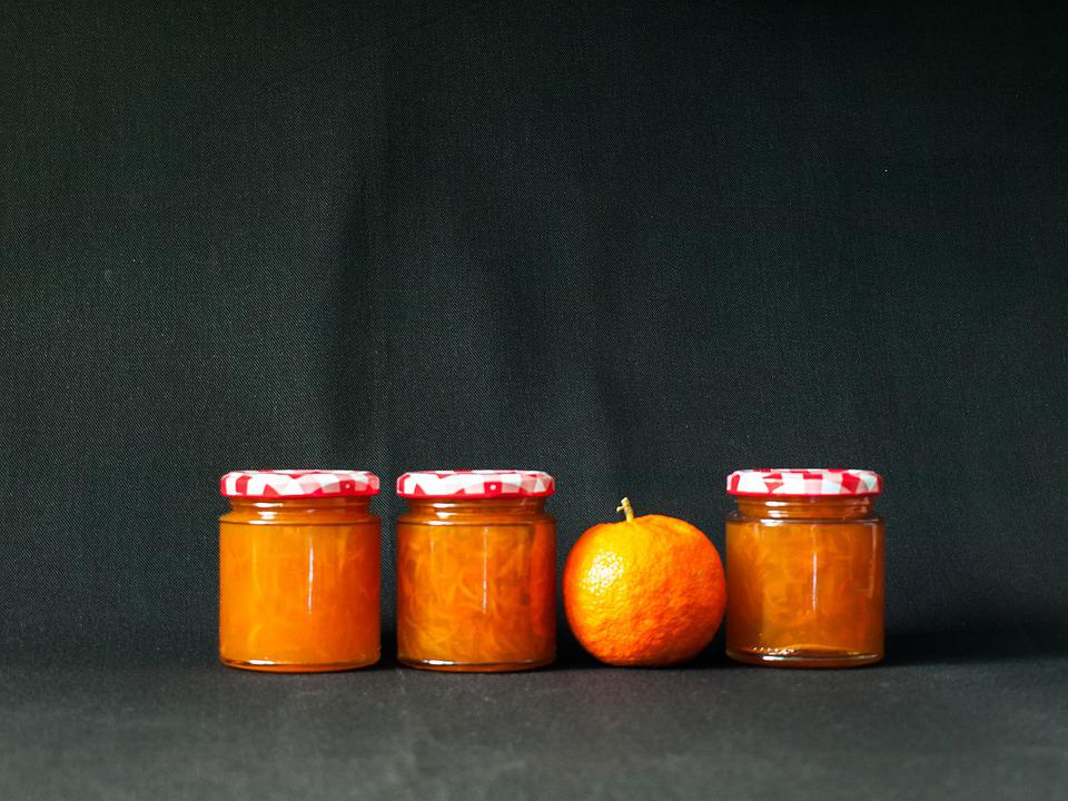 Orange, Jam, Jar, Fruit, Black Background, Food