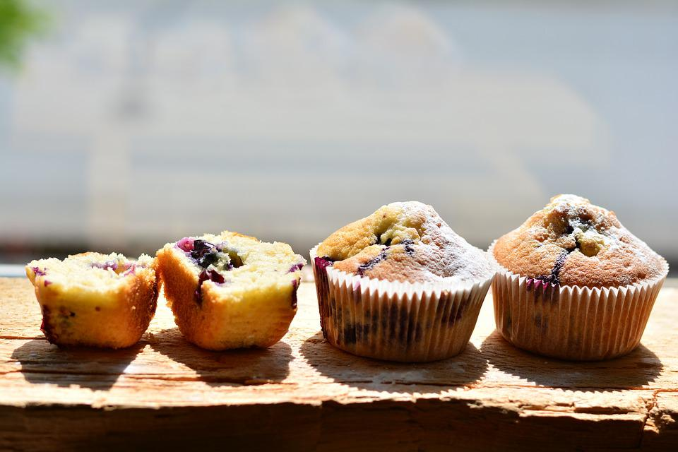 Muffins, Blueberry Muffins, Bake, Cake, Food, Sweet