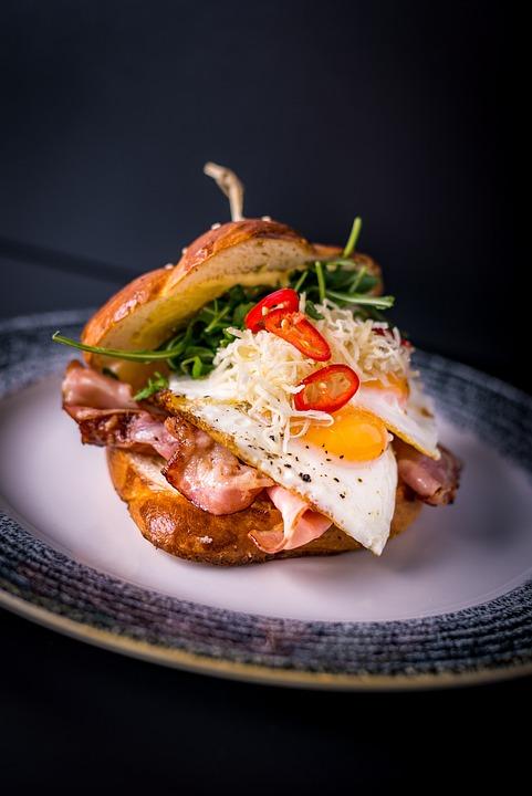 Breakfast, Burger, Bacon, Eggs, Egg, Chilli, Food