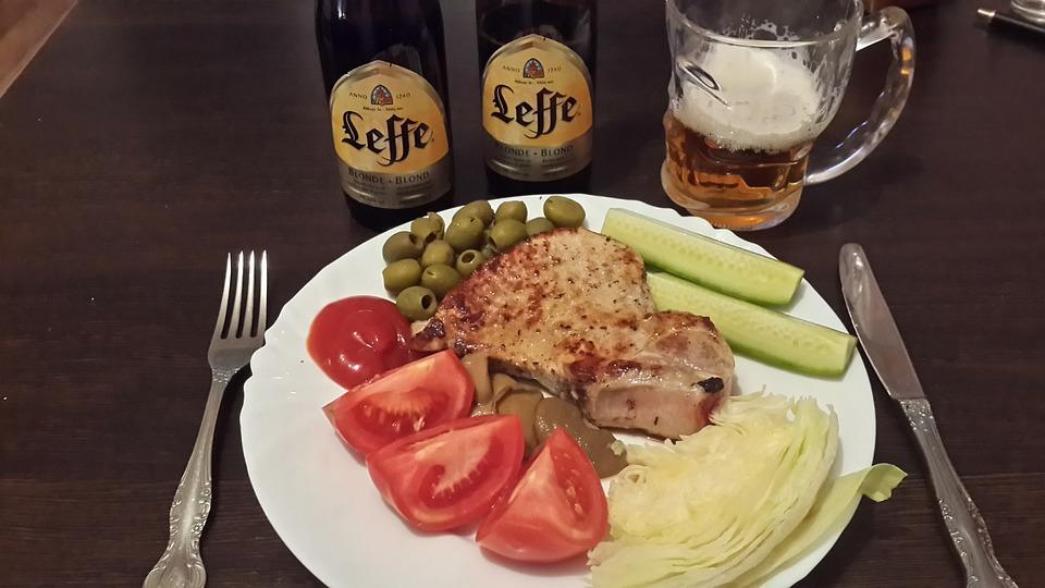 Loin, Chicken, Pork, Meat, Beer, Fried Meat, Food